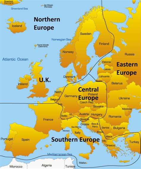 central europe map showing iconic tourist attractions