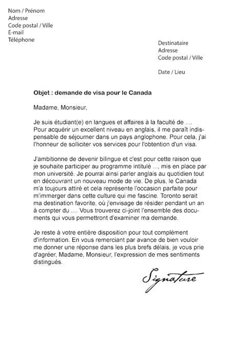 lettre de demande de visa pour le canada modèle de lettre