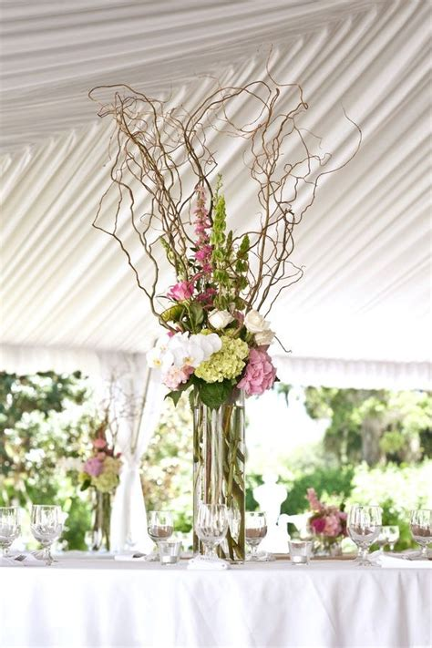 willow arrangement curly willow and flowers wedding special events pinterest