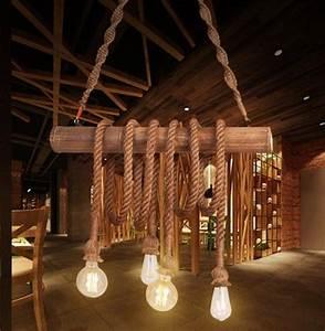 Luminaire Suspension Bois : luminaire suspendu vintage bois corde beige e27 myplanetled ~ Teatrodelosmanantiales.com Idées de Décoration