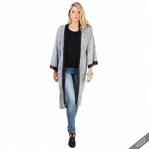 Kimono Long Femme : femmes kimono long cardigan manche longue veste longue ~ Farleysfitness.com Idées de Décoration