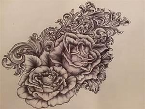 Victorian Scrollwork  U0026 Roses Tattoo