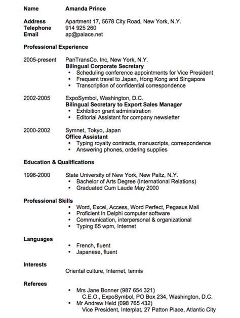 contoh resume lamaran kerja bahasa terbaru terbaik