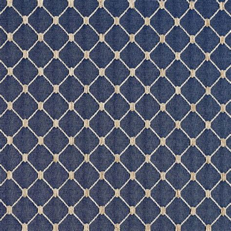 Navy Blue, Diamond Jacquard Woven Upholstery Fabric By The