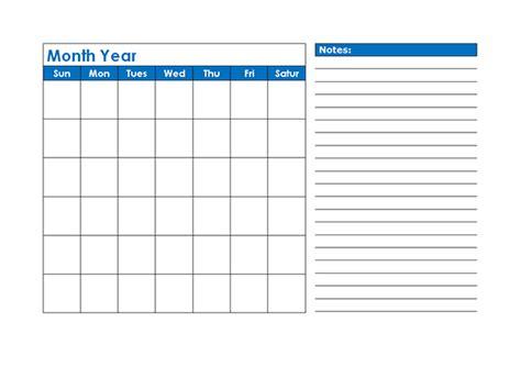 monthly blank calendar  blue shade  printable