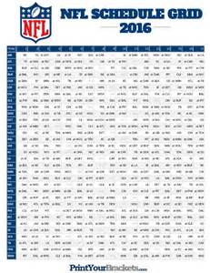 2016 2017 NFL Schedule Printable Grid