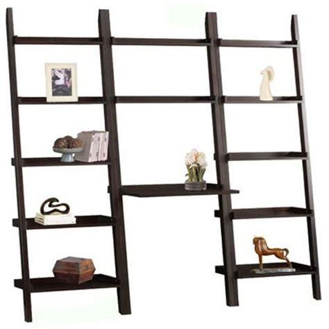 leaning ladder bookshelf with laptop desk cappuccino brown 3 piece leaning ladder bookshelf with