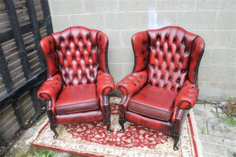 chesterfield wingback chair one left in oxblood color