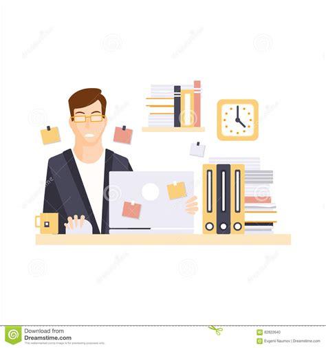 employ馥 de bureau employé de bureau malheureux d 39 homme dans le compartiment de bureau ayant personnage de dessin animé courant quotidien de sit illustration