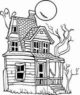 Haunted Coloring Cartoon Houses Clip Pages Halloween Drawing Clipart Drawings Outline Ghost Scary Colouring Sketch Simple Template Library Cliparts Printable sketch template