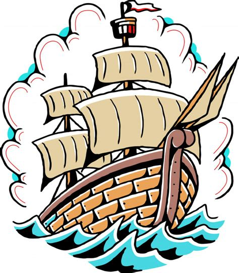simple ship  school tattoo vector vector premium