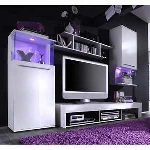 Meuble Tv Mural : punch meuble tv mural contemporain blanc mat et brillant l 228 cm achat vente meuble tv ~ Teatrodelosmanantiales.com Idées de Décoration