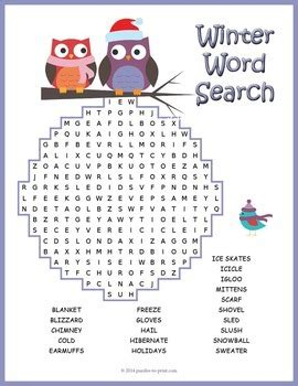 winter word search puzzle by puzzles to print teachers pay teachers