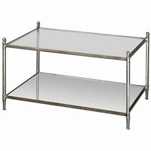 uttermost gannon mirrored glass coffee table in antiqued With silver mirrored coffee table