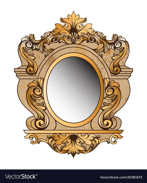 baroque golden mirror frame  decor vector image