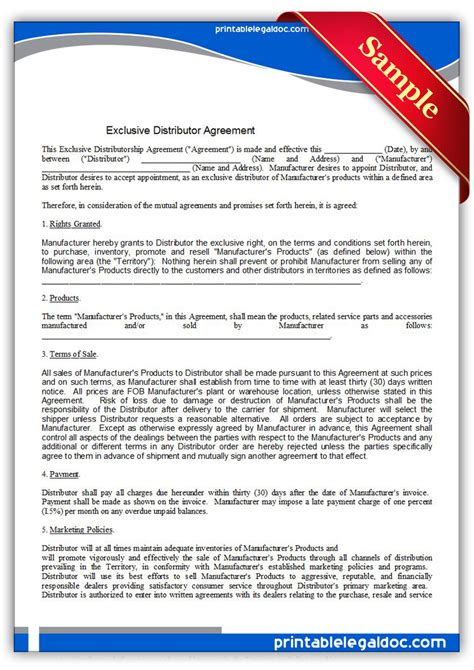 printable distributor agreement exclusive form generic