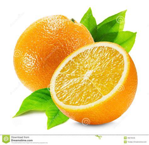 Orange With Half Leaf Isolated The