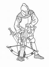 Coloring Warrior Crossbow Knights Boys Soldiers sketch template