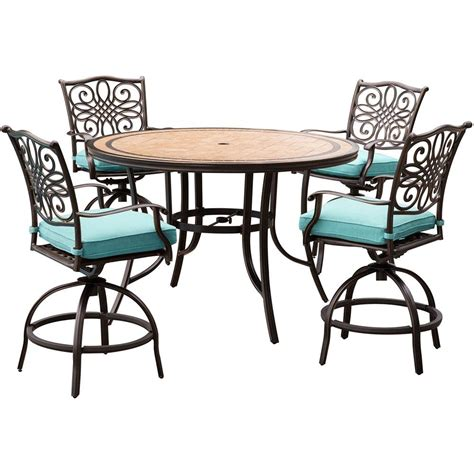 blue outdoor table and chairs hanover monaco 5 piece outdoor bar height dining set with