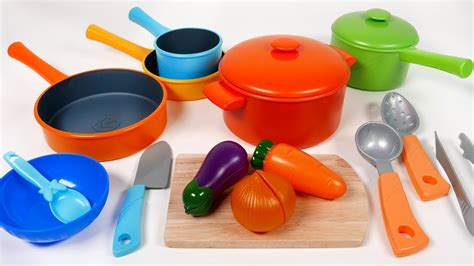 cookware pots  pans toy playset  children kitchen cooking vegetable soup pretend play