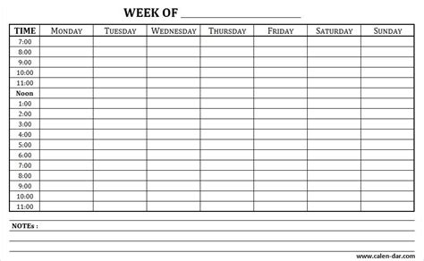 blank planner  weekly schedule printable