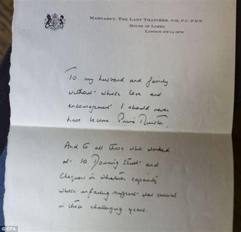 thatchers handwritten letter   husband  family