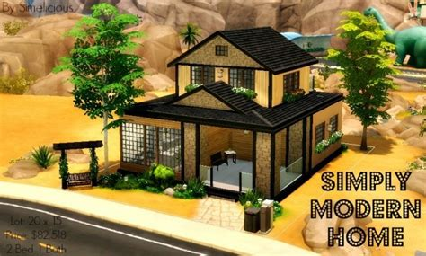 A Simple Modern Home With A Lot Of Personality Is For A And Their by Simply Modern Home At Simelicious 187 Sims 4 Updates
