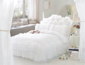 weisses schlafzimmer white ruffle lace princess bedding comforter set size duvet cover quilt bed linen