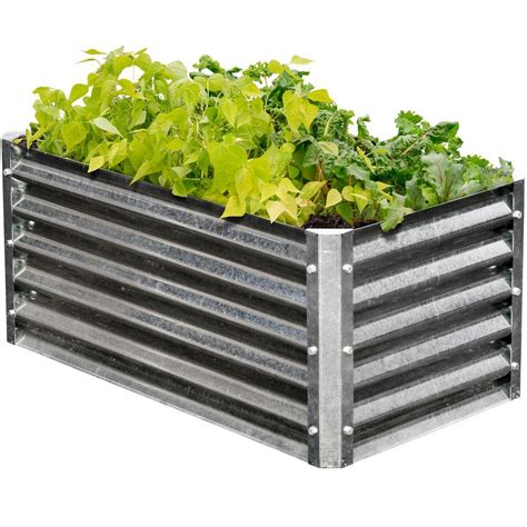 gardening raised beds earthmark alto series 22 in x 40 in x 17 in rectangle galvanized metal raised garden bed mgb