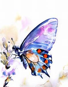 Butterfly Watercolor Print Watercolor Painting by ...