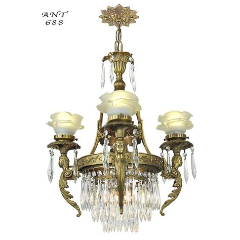 French Crystal Chandelier Antique 4 Arm Figural Ceiling