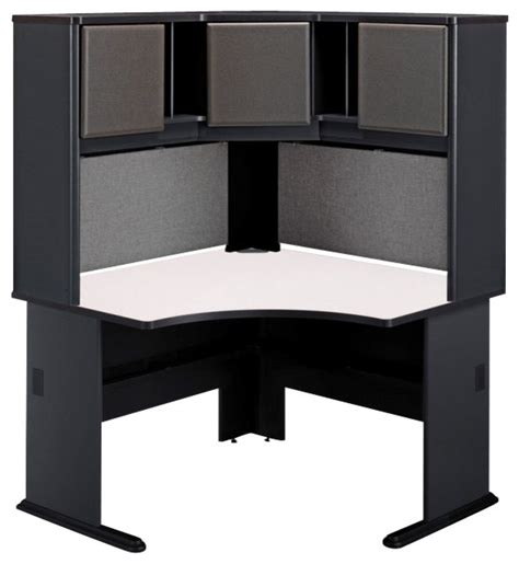 corner computer desk with hutch bush series a 48 quot corner computer desk with hutch in slate