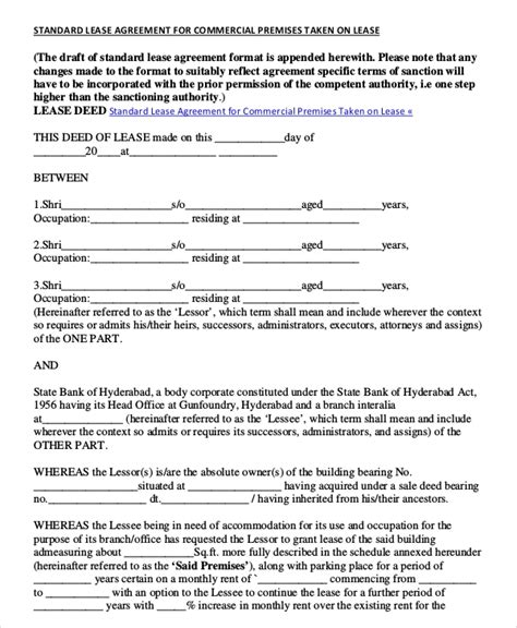 commercial rental agreement   word  documents