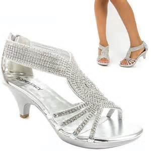 wedding reception shoes silver prom wedding bridal rhinestone low kitten heel sandal shoe us ebay