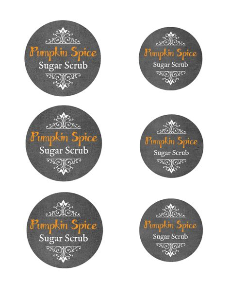 pumpkin spice sugar scrub  printable mason jar labels