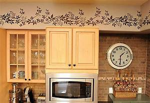 ideas for decorating above kitchen cabinets slideshow With kitchen cabinets lowes with painting stencils for wall art