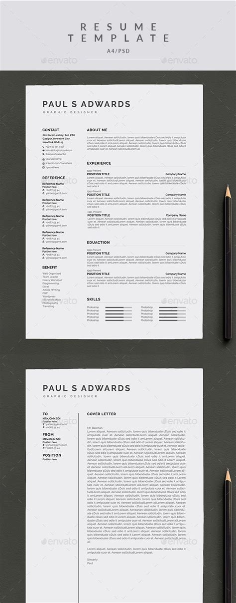 resume cover letter  template psd resume templates