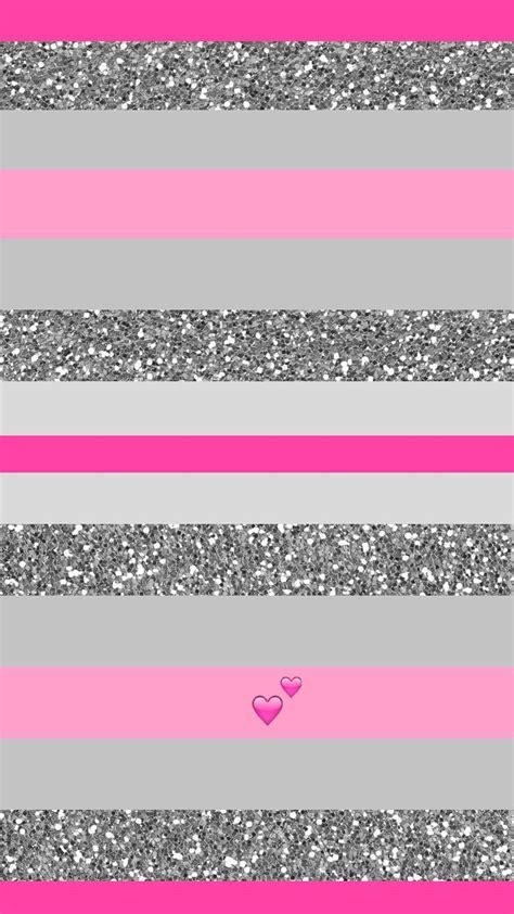 pink  silver glitter stripe heart iphone wallpaper