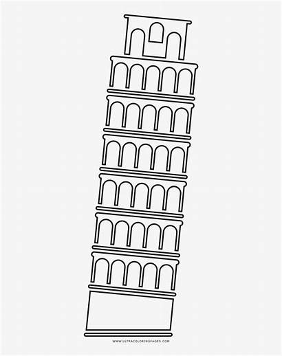 Pisa Tower Torre Leaning Coloring Inclinada Dibujo