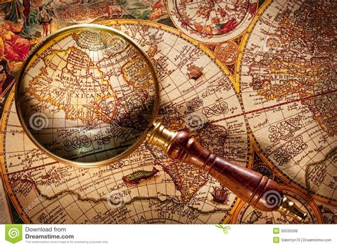 magnifying glass  map royalty  stock images