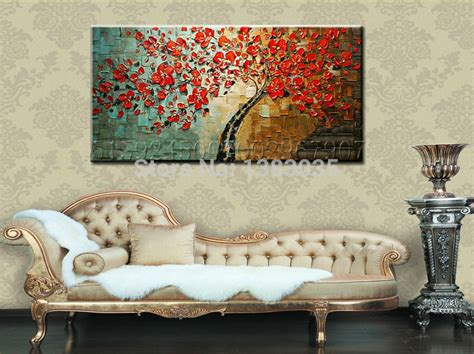 hand painted textured palette knife tree red flower oil