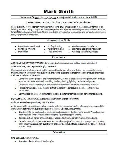 constructioncarpenters assistant resume sample monstercom