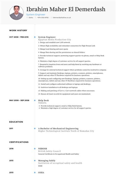 system engineer resume sles visualcv resume sles