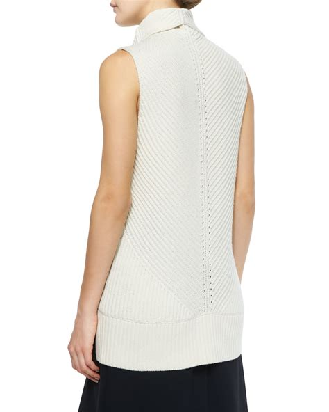 sleeveless turtleneck sweater vince ribbed sleeveless turtleneck sweater in white lyst