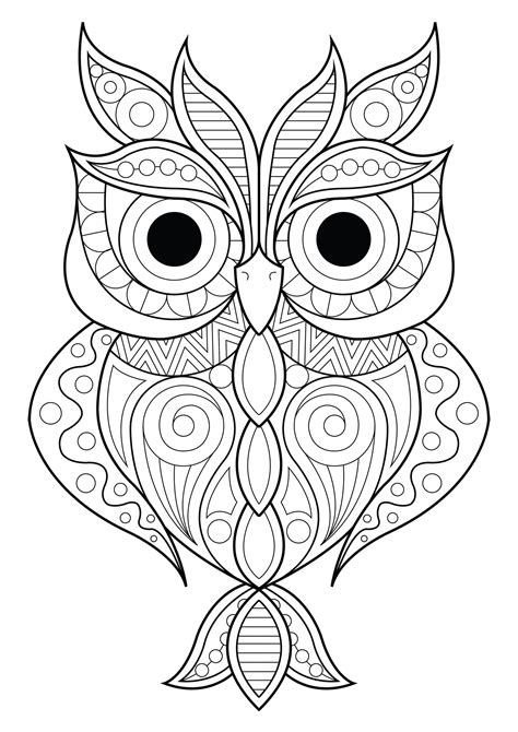 owl simple patterns  owls adult coloring pages