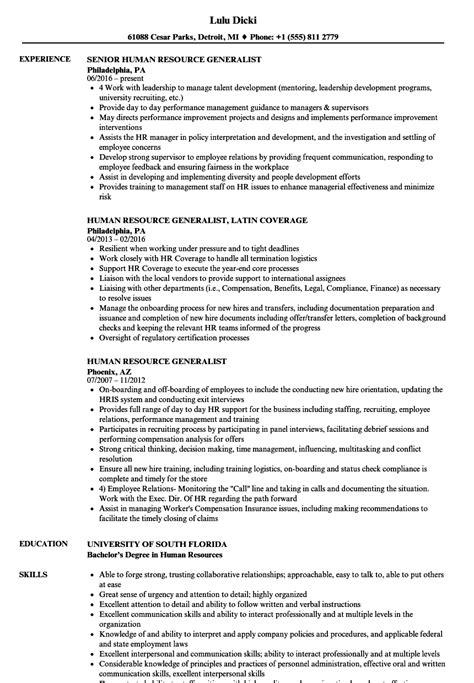 Human Resource Generalist Resume by Human Resource Generalist Resume Sles Velvet
