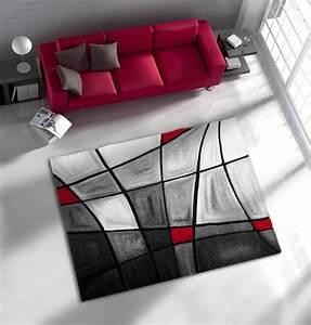 Tapis De Salon Avec Effet 3D Gris Et Rouge Chic