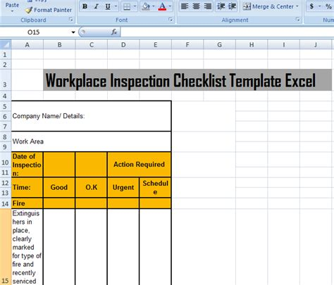 workplace inspection checklist template excel microsoft