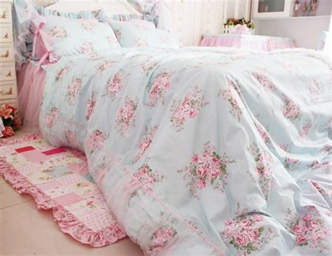 shabby chic princess bedding king queen full twin princess shabby floral chic blue duvet comforter cover set
