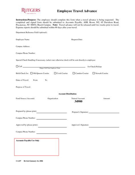 20026 employee advance form 10 best images of employee advance agreement form